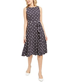 Polka-Dot Tie-Waist A-Line Midi Dress