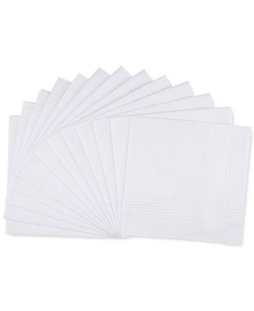 Club Room Men's 13-Pc. White Border-Stripe Handkerchief Set, Created for Macy's