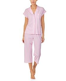 Printed Short-Sleeve Capri Pajama Set
