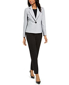 Petite One-Button Notched-Collar Pant Suit