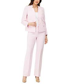 Textured Star-Collar Pants Suit