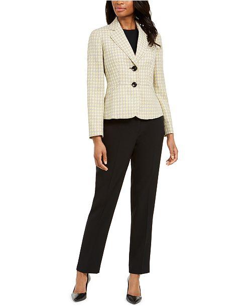Le Suit Petite Two-Button Notched-Collar Pant Suit