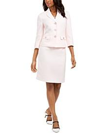 Petite 3/4-Sleeve Skirt Suit