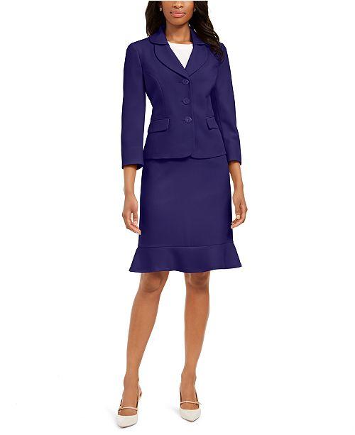 Le Suit Petite Flared-Hem Skirt Suit