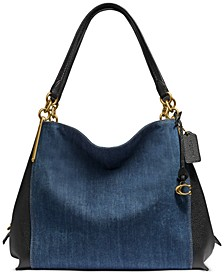 Dalton Blocked Denim & Leather Shoulder Bag