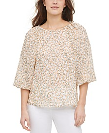 Printed Balloon-Sleeve Top
