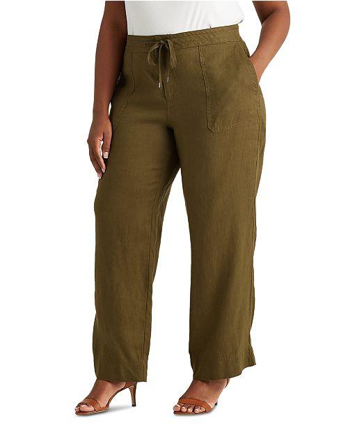Lauren Ralph Lauren Plus-Size Linen Wide-Leg Pants