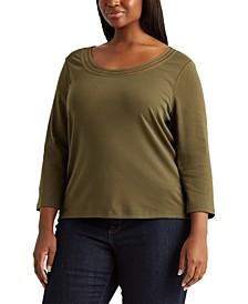Plus-Size Cotton Elbow-Sleeve Top
