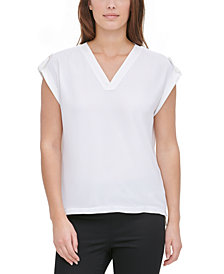 Calvin Klein Mixed-Media V-Neck Top