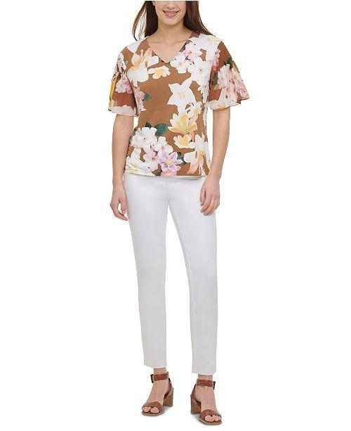 Calvin Klein Printed Smocked-Sleeve Top
