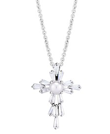 Birthstone Cross Pendant In Fine Silver Plate