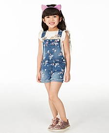 Little Girls Butterfly Denim Shortalls, Created for Macy's