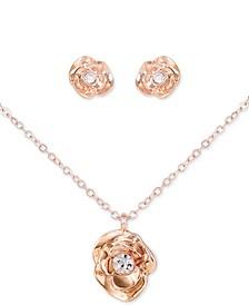 "Rose Gold-Tone 2-Pc. Set Crystal Flower Stud Earrings & Pendant Necklace, 18"" + 2"" extender"