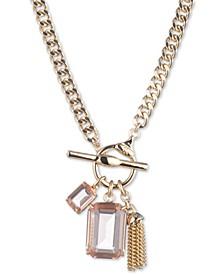 "Stone & Chain Tassel 17"" Pendant Necklace"