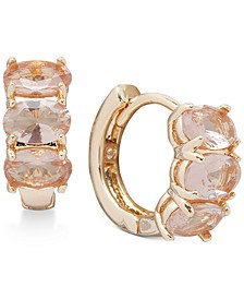 "Gold-Tone Small Stone Huggie Hoop Earrings, 3/5"""
