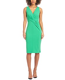 Pleat-Detail Sheath Dress