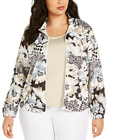 Plus Size Classics Floral-Print Zip-Up Jacket