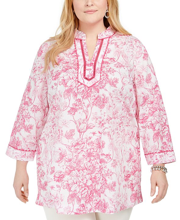 Charter Club Plus Size Cotton Split-Neck Tunic, Created for Macy's