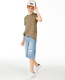 Big Boys Textured Stripe T-Shirt & Capri Destroyed Denim Shorts, Created for Macy's