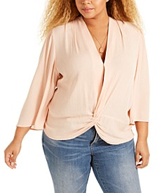 Trendy Plus Size Twist-Front Top