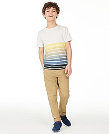 Big Boys Ombré Stripe T-Shirt & Stretch Twill Moto Chino Pants, Created for Macy's
