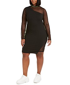 Trendy Plus Size Mixed-Media Bodycon Dress, Created for Macy's