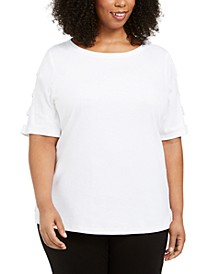 Plus Size Cut-Out-Sleeve Cotton Top, Created for Macy's