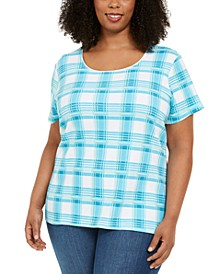 Plus Size Plaid T-Shirt, Created for Macy's