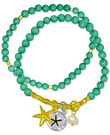 2-Pc. Set Freshwater Pearl (6-1/2mm) Beaded Starfish Charm Stretch Bracelets in Gold-Plate & Fine Silver-Plate