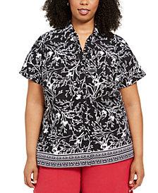Karen Scott Plus Size Printed Short-Sleeve Shirt, Created for Macy's