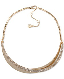 "Gold-Tone Pavé Overlapping Curved Bar Collar Necklace, 15"" + 3"" extender"