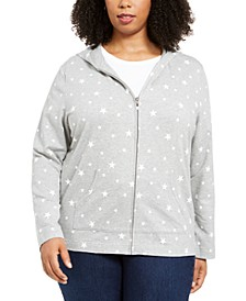 Plus Size Star-Print Hoodie, Created for Macy's