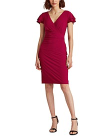 Petite Flutter-Sleeve Surplice Dress