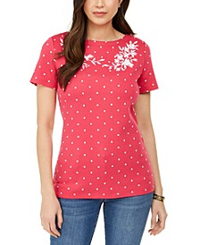 Petite Embroidered Dot-Print Top, Created for Macy's