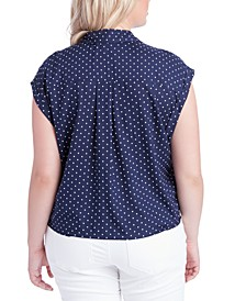 Trendy Plus Size Robyn Printed Button-Front Top