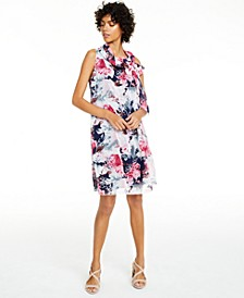 Petite Floral-Print Tie-Neck Dress