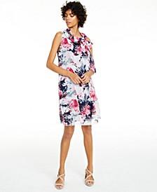 Petite Floral-Print Tie-Neck Dress