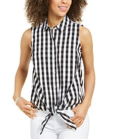 Petite Sleeveless Gingham Button-Front Top, Created for Macy's