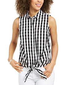 Charter Club Gingham-Print Tie-Hem Shirt, Created for Macy's