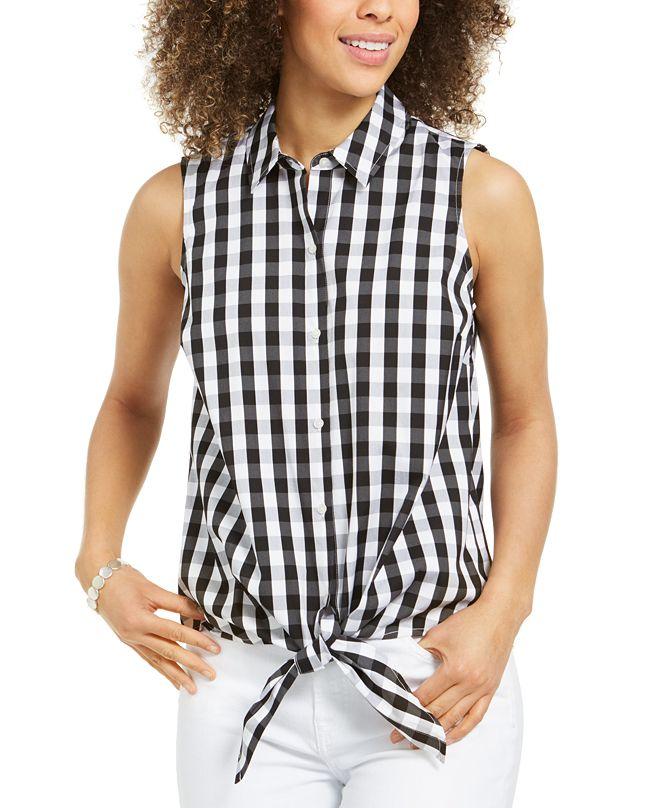 Charter Club Gingham-Print Tie-Hem Shirt, Created for Macy's