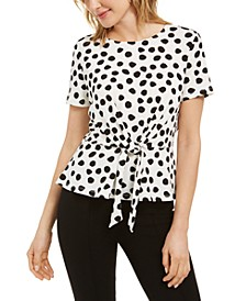 Polka Dot Tie-Waist Knit Top
