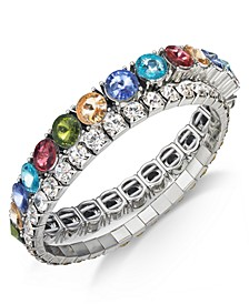 INC Silver-Tone Rainbow & Clear Crystal Stretch Bracelets, Created for Macy's