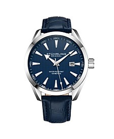 Men's Blue Leather Strap Watch 42mm