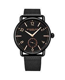 Stuhrling Men's Black Stainless Steel Bracelet Watch 42mm