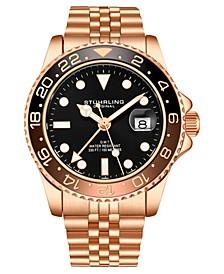 Men's Rose Gold Stainless Steel Bracelet Watch 42mm