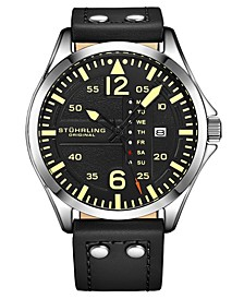 Men's Black Leather Strap Watch 51mm