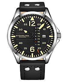 Men's Black Leather Strap Watch 51mm