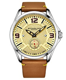 Men's Light Brown Leather Strap Watch 43mm