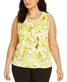 Plus Size Twist-Neck Floral-Print Top