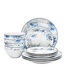 Blue Nebula 12-PC Dinnerware Set,  Service for 4
